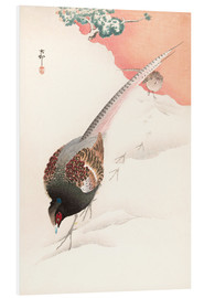 Foam board print  A Pair of Pheasants in the Snow - Ohara Koson