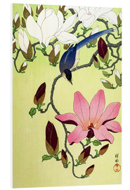 Foam board print  Magpie with Pink and White Magnolia Blossoms - Ohara Koson