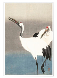 Premium poster  Heron pair on the river bank - Ohara Koson