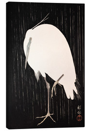 Canvas  White Crane in the rain - Ohara Koson