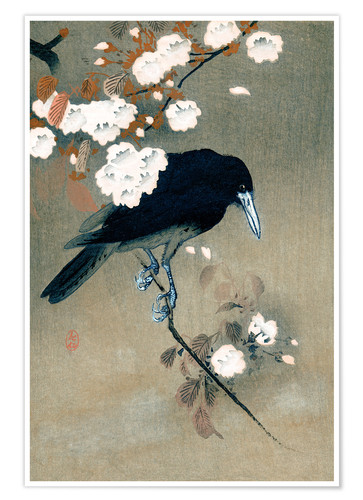Premium poster Crow and blossom