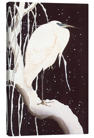 Canvas print  White Crane on a snowy road - Ohara Koson
