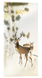 Acrylic print  Deer and roe deer in winter - Ohara Koson