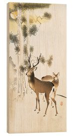 Wood  Deer and roe deer in winter - Ohara Koson