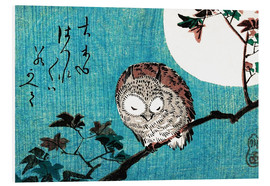 Foam board print  Sleeping owl full moon - Utagawa Hiroshige