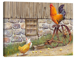 Canvas print  King Rooster and Hens - John Bindon