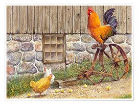 Poster  King Rooster and Hens - John Bindon