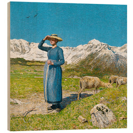 Wood print  Lunch in the Alps - Giovanni Segantini