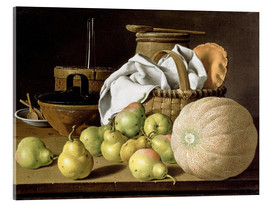 Acrylic print  Still Life with Melon and Pears - Luis Egidio Meléndez
