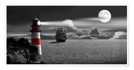 Premium poster Lighthouse colorkey in the night