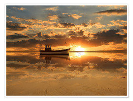 Poster The fishing boat in the sunset