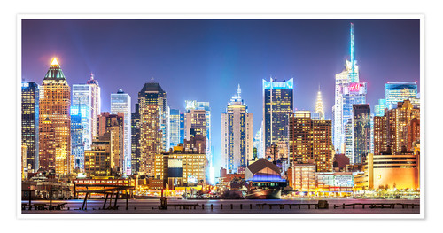 Premium poster New York Midtown Skyline by Night