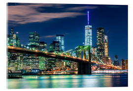 Acrylic glass  New York Skyline with Brooklyn Bridge by Night - Sascha Kilmer
