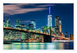 Poster New York Skyline with Brooklyn Bridge by Night