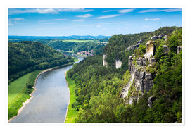 Premium poster  Bastei rocks in Saxon Switzerland close to Dresden - Reiner Würz RWFotoArt