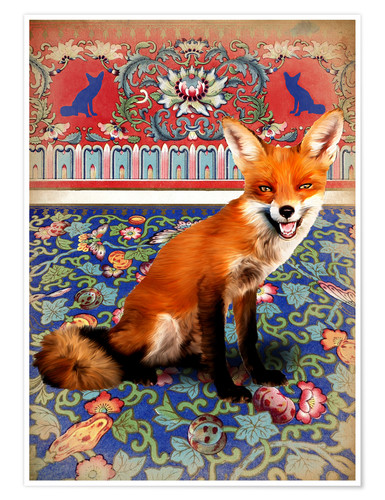 Premium poster A fox at home
