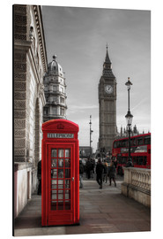 Aluminium print  London telephone box and Big Ben - Filtergrafia