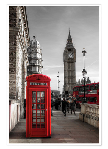 Poster London Telephone Box and Big Ben