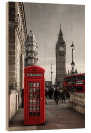 Wood print  London telephone box and Big Ben - Filtergrafia