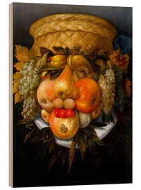 Wood print  Portrait of a man from fruits - Giuseppe Arcimboldo