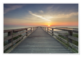 Premium poster  Schoenberger beach jetty at sunrise - Dennis Stracke