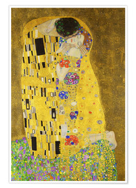 Poster  The Kiss (portrait) - Gustav Klimt