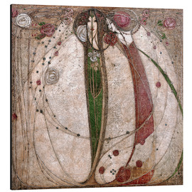 Alu-Dibond  The White Rose And The Red Rose - Margaret MacDonald Mackintosh