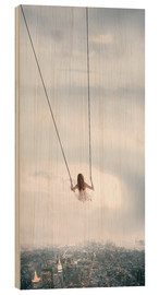 Wood print  swinging over the city - Jos Temprano