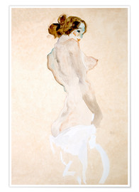 Poster  Standing Nude with white shirt - Egon Schiele