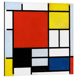 Alu-Dibond  Composition with red, yellow, blue and black - Piet Mondrian