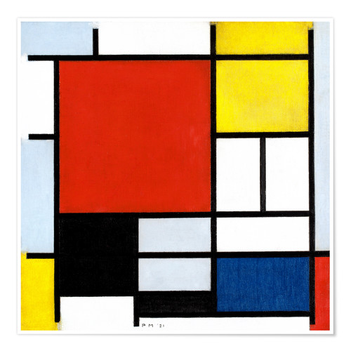 Premium poster Composition with red, yellow, blue and black