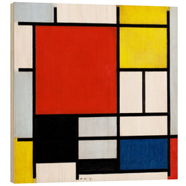 Wood print  Composition with red, yellow, blue and black - Piet Mondrian