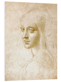 Foam board print  Study of an angel face of the Virgin of the Rocks - Leonardo da Vinci