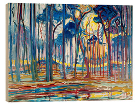 Wood  Forest Landscape in Oils - Piet Mondrian