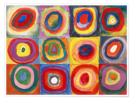 Premium poster  Colour study - squares and concentric rings - Wassily Kandinsky