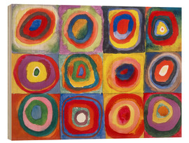 Wood  Colour Study - Squares and concentric rings - Wassily Kandinsky