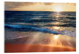 Acrylic glass  Waves at Sunset - Lichtspielart