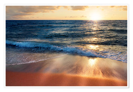 Poster  Waves at Sunset - Lichtspielart