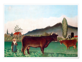 Premium poster Landscape with Cows