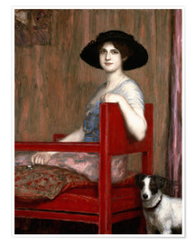 Premium poster  Mary von Stuck in a red chair - Franz von Stuck