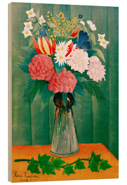 Wood  Bouquet of flowers with a branch of ivy - Henri Rousseau
