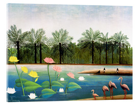 Acrylic glass  The Flamingos - Henri Rousseau