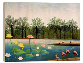 Wood print  The flamingos - Henri Rousseau