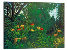 Aluminium print  Exotic landscape with tiger and hunters - Henri Rousseau