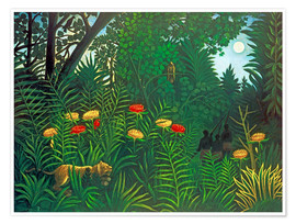 Henri Rousseau - Exotic landscape with tiger and hunters