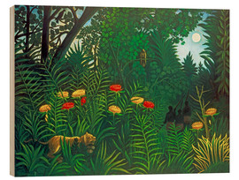 Wood  Exotic landscape with tiger and hunters - Henri Rousseau