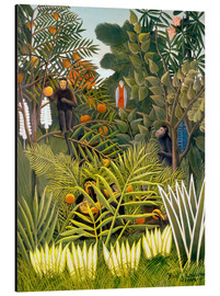 Alu-Dibond  Exotic Landscape with monkeys and a parrot - Henri Rousseau