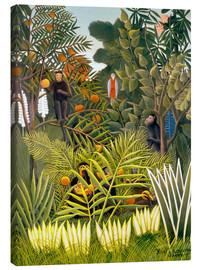 Canvas  Exotic Landscape with monkeys and a parrot - Henri Rousseau