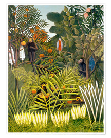 Poster Exotic Landscape with monkeys and a parrot