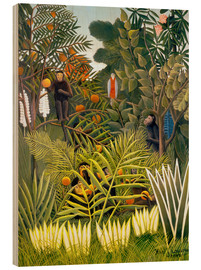 Wood  Exotic Landscape with monkeys and a parrot - Henri Rousseau